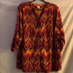 2X 1/3 length sleeves multicolored blouse